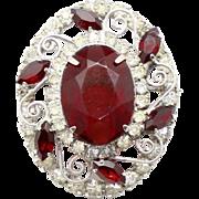 Vintage Juliana (D&E) Red & Clear Rhinestone S Scroll Work Pin / Pendant