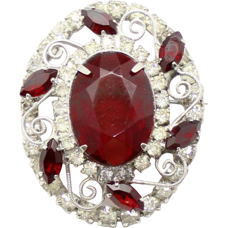 Vintage Juliana (D&E) Red & Clear Rhinestone S Scroll Work Pin / Pendant