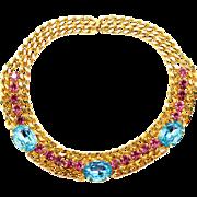 Vintage Juliana (D&E) for Alexis Kirk Aqua and Fuchsia Rhinestone and Link Chain Necklace