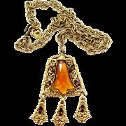 Vintage Juliana (D and E) Topaz Lotus Flower Rhinestone Pendant Necklace