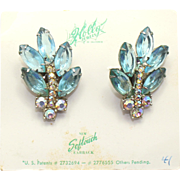 Vintage Juliana (D and E) for Holly Jewelry Aqua Blue and AB Rhinestone Earrings ORIGINAL CARD