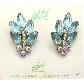 Vintage Juliana (D and E) for Holly Jewelry Aqua Blue and AB Rhinestone Earrings ORIGINAL CARD