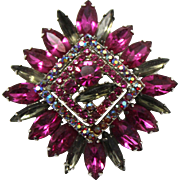 Vintage Juliana (D and E) Fuchsia and Gray Rhinestone Brooch