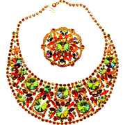 Vintage Juliana (D and E) Book Piece Orange, Topaz and Watermelon Rivoli Bib Necklace and Brooch Demi Parure