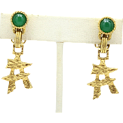 Vintage Juliana (D and E) Jade Lucite and Asian Symbol Earrings