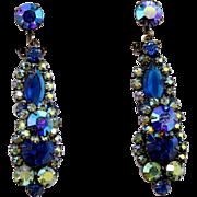 Vintage Juliana Blue AB Rhinestone Dangle Earrings