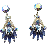 Vintage Juliana (D&E) Book Piece Blue & Aqua Rhinestone Dangle Earrings