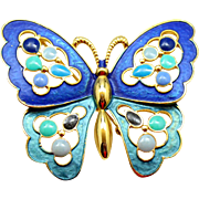 Vintage Juliana (D and E) Book Piece Blue and Teal Enamel and Epoxy Butterfly Brooch or Necklace