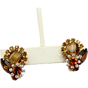 Vintage Juliana (D and E) Book Piece Topaz Striped Givre Earrings