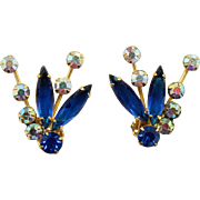 Vintage Juliana Blue and AB Navette Rhinestone Spiky Earrings