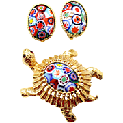 Vintage Juliana (D and E) Book Piece Millefiori Turtle Brooch and Earrings Demi Parure