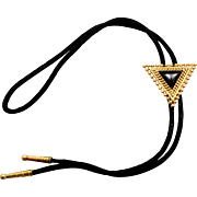 Vintage Juliana (D&E) Book Piece Black Western Bolo Tie Necklace