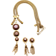 Vintage Juliana (D and E) for Hobe Book Piece Moroccan Matrix Rhinestone Necklace and Earrings Demi Parure