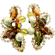 "Vintage Juliana (D and E) ""Mardi Gras"" Topaz, Olivine Green, and Orange Rhinestone and Crystal and Metal Bead Earrings"