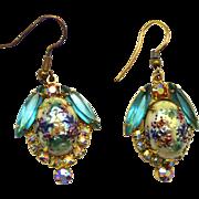 Vintage Juliana (D and E) Aqua Blue Rhinestone and Stippled Cabochon Earrings