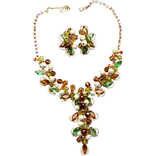 "Vintage Juliana (D and E) ""Mardi Gras"" Topaz, Olivine Green, and Orange Rhinestone and Crystal and Metal Bead Demi Parure"