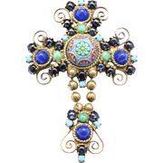 Vintage juliana (D and E) Book Piece Moroccan Matrix Ball Chain Cross Brooch