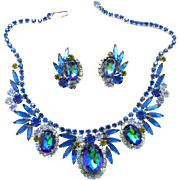 Vintage Juliana (D and E) Book Piece Bermuda Blue Heliotrope Rhinestone Demi Parure Necklace and Earrings