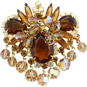 Vintage juliana (D and E) Book Piece Topaz Rhinestone and Bead Brooch
