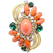 Vintage Juliana (D and E) |Book Piece Coral High Domed Cabochon Ring