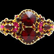 Vintage Juliana Red Rivoli Fuchsia Pink Amethyst Purple Rhinestone Clamper Bracelet