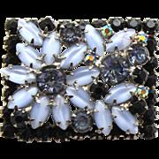 Vintage Juliana Blue Moonstone Black Rhinestone Framed Flower Brooch