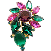 Vintage Juliana Fuchsia Green Amethyst Diamond Shaped Rhinestone Brooch