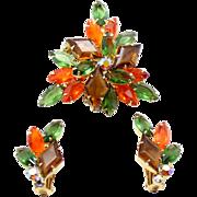 Vintage Juliana Topaz Diamond Shaped Orange Olivine Green Rhinestone Brooch Earrings Demi Parure