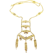 Vintage Juliana Egyptian Styled Ball Chain Cast Metal Necklace