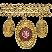 Vintage Juliana for GJD Book Piece Red Moroccan Matrix Dangle Bar Pin Brooch