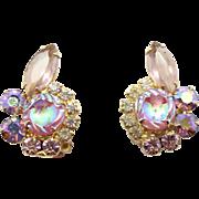 Vintage Juliana Book Piece Pink Scooped AB Lavender Rhinestone Earrings
