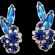 Vintage Juliana Blue Clear  Rhinestone Navette Florette Earrings
