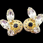 Vintage Juliana Clear Blue Rhinestone and 10 Petal Daisy Earrings