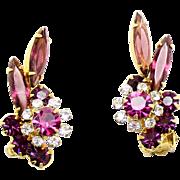 Vintage Juliana Amethyst Purple Clear Rhinestone Navette Florette Earrings