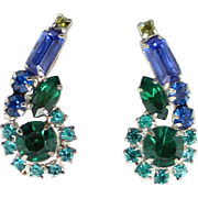 Vintage Juliana Teal Blue Olivine Green Rhinestone Baguette Earrings