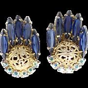 Vintage Juliana Book Piece Blue Rhinestone Filigree Ball Earrings