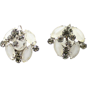 Vintage Juliana White Givre and Black Diamond (Gray) Rhinestone Earrings