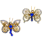 Vintage Juliana Book Piece Blue Rhinestone Filigree Winged Butterfly Scatter Pins or Brooches