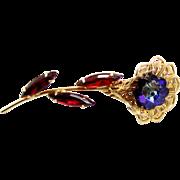 Vintage Juliana Purple Red Heliotrope Margarita Rhinestone Filigree Flower Brooch