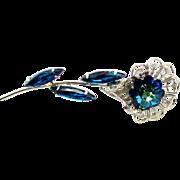 Vintage Juliana Bermuda Blue Heliotrope Margarita Rhinestone Filigree Flower Brooch