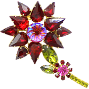 Vintage Juliana Book Piece Red Olivine Fuchsia Rhinestone Flower Pillowcase Brooch