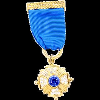 Vintage Juliana Book Piece Military Medal Style Blue Ribbon Maltese Cross Rhinestone Brooch
