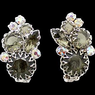 Vintage Juliana Book Piece Gray Black Diamond Rhinestone Multi-Prong Earrings