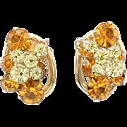 Vintage Juliana Topaz and Citrine Rhinestone Earrings