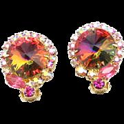 Vintage Juliana Book Piece Volcano Rivoli, Pink Rhinestone Earrings