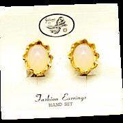 Vintage Juliana Opal Lucite Cabochon Earrings On Original Card
