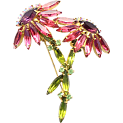 Vintage Juliana Fuchsia Pink, Olivine Green Rhinestone Double Flower Brooch