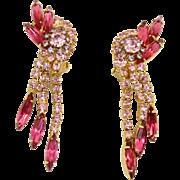 Vintage Juliana for Celebrity Fuchsia Pink Rhinestone Dangle Earrings