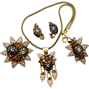 Vintage Juliana Molded Daisy Flower Cabochon, Ball Chain Filigree Topaz Rhinestone Necklace Brooch Earrings Grand Parure
