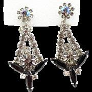 Vintage Juliana Book Piece Black and Gray Rhinestone Sticks N Stones Dangle Earrings